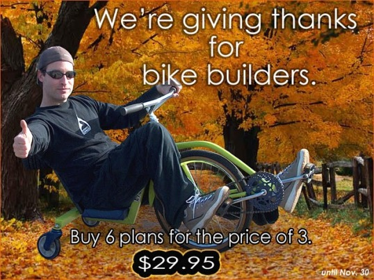 diy bike plans, recumbents, choppers, trikes, tandems, tallbikes, scooters, ebikes, trailers, more