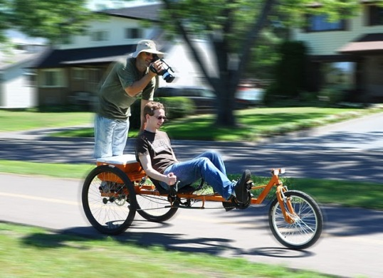 taking footage of the TimberWolf recumbent trike for an upcoming video